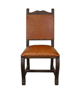 Real Leather Seat & Back Dining Chair Rustic Western Cabin Lodge Solid Wood - $425.69