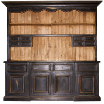 2 Piece Black Distressed China Cabinet Real Woo... - $2,861.10