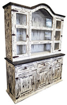 Rustic White Scraped MED 2PC China Cabinet West... - $1,187.99