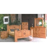 5 Pc Honey Rustic Full Bedroom Set with Star Real Solid Wood Western Cab... - $2,405.69