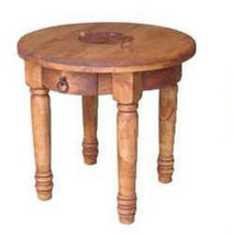 Round End Table With Star Rustic Western Cabin Lodge Side Table Real Sol... - $226.71