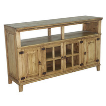 "60""  Rustic TV Stand Western Solid Wood Rustic Console Glass Doors Cabin Lodge - $642.51"