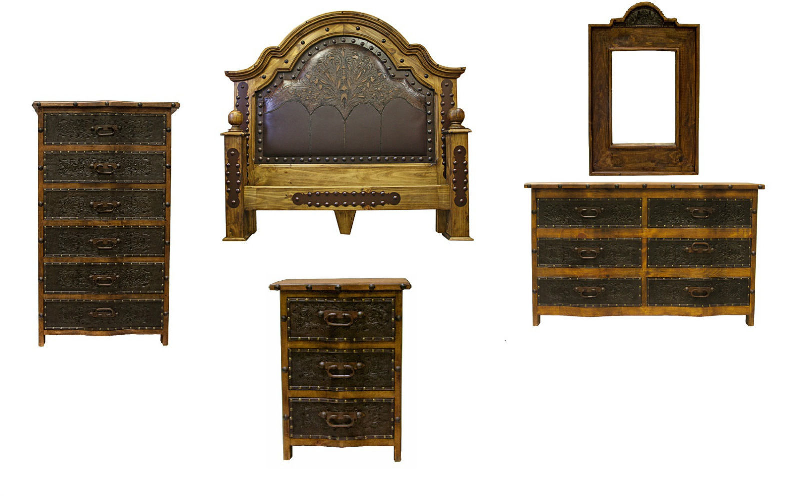 Grand tooled leather bedroom set with iron accents real for Iron accents promo code