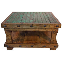 Square Coffee Table with Shelf Brazilian Pine Rustic Western Lodge Cabin - $890.99