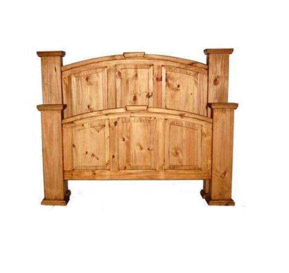 Mansion Bed King Queen Full Rustic Western Real Solid Wood Lodge Cabin