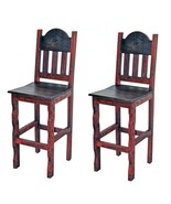"""QTY 2 30"""" Red Scraped Bar Stools Real Wood  Rustic Western Cabin Lodge - $445.49"""