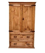 Rustic 2 Door 2 Drawer TV Armoire Western Lodge Cabin Honey Stain Solid ... - $989.99