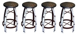 "QTY 4 30"" Iron And Wood White Scraped Bar Stools Real Wood Rustic Western - $742.49"