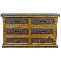 Real Tooled Leather 6 Drawer Dresser Western Rustic Cabin Lodge Real Sol... - $1,632.51