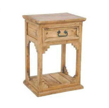 Rustic Open Bottom Nightstand Western Lodge Cabin Real Solid Wood Trim D... - $178.20