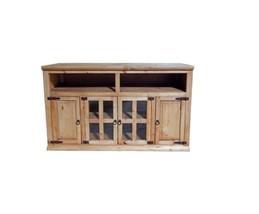 "Rustic Honey Tv Stand with Glass Doors  Rustic Western Console 60"" Long - $692.99"