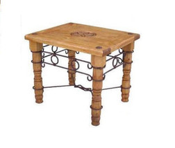 Iron And Wood End Table With Star Real Wood Rustic Western Cabin Lodge M... - $207.90