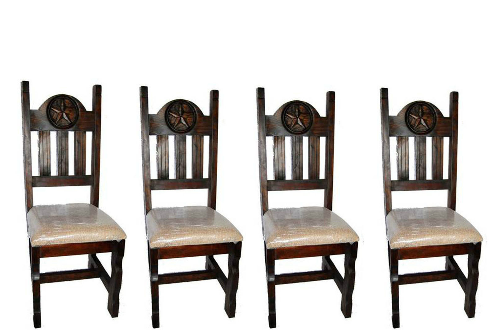 Set of Four Dark Star Padded Seat Chair Real Solid Wood Rustic Western Cabin