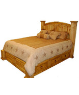 King Size Under Storage Bed Real Solid Wood Western Rustic Cabin Lodge 6... - $1,381.05