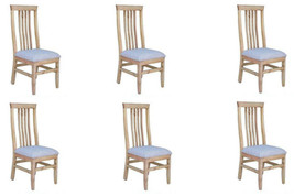 Set of Six Romeo Padded Seat Chair Solid Wood Rustic Western Dining Room - $742.49