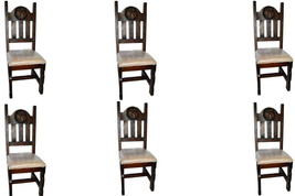 Set of Six Dark Star Padded Seat Chair Solid Wood Rustic Western Cabin L... - $836.54