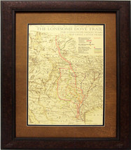 W842 Lonesome Dove Trail Map, Custom Frame, Western Art Rustic Decor - $247.49+