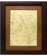 W842 Lonesome Dove Trail Map, Custom Frame, Western Art Rustic Decor - $247.49+
