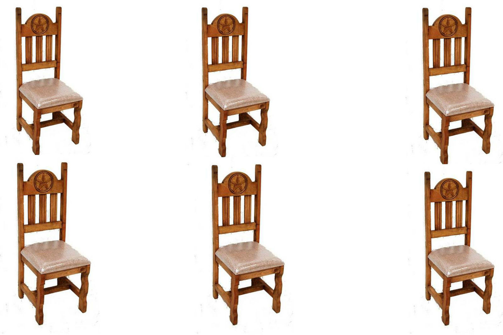 Set of Six Star Padded Seat Dining Chair Solid Wood Rustic Western Cabin Lodge