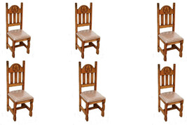 Set of Six Star Padded Seat Dining Chair Solid Wood Rustic Western Cabin... - $788.03
