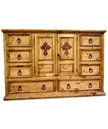 Rustic Mansion Dresser With Cross Western Cabin Lodge Engraving Solid Wood - $890.99