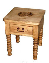 Spindle Leg End Table With Star Real Solid Wood Western Rustic Cabin Lod... - $236.61