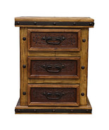 Real Tooled Leather Nightstand Brazilian Pine Rustic Western Free Shipping - $627.37