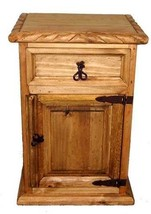 Rustic Rope Detail Nightstand Western Cabin Lodge Real Solid Wood Bedsid... - $227.70