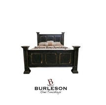 Rustic Stone Brown Poster Paneled Queen Bed Shabby Chic New Style Black ... - $989.99
