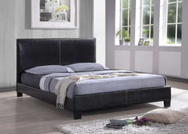 Faux Black Leather Queen Bed * Modern * Simple * Clean Lines * - $675.24