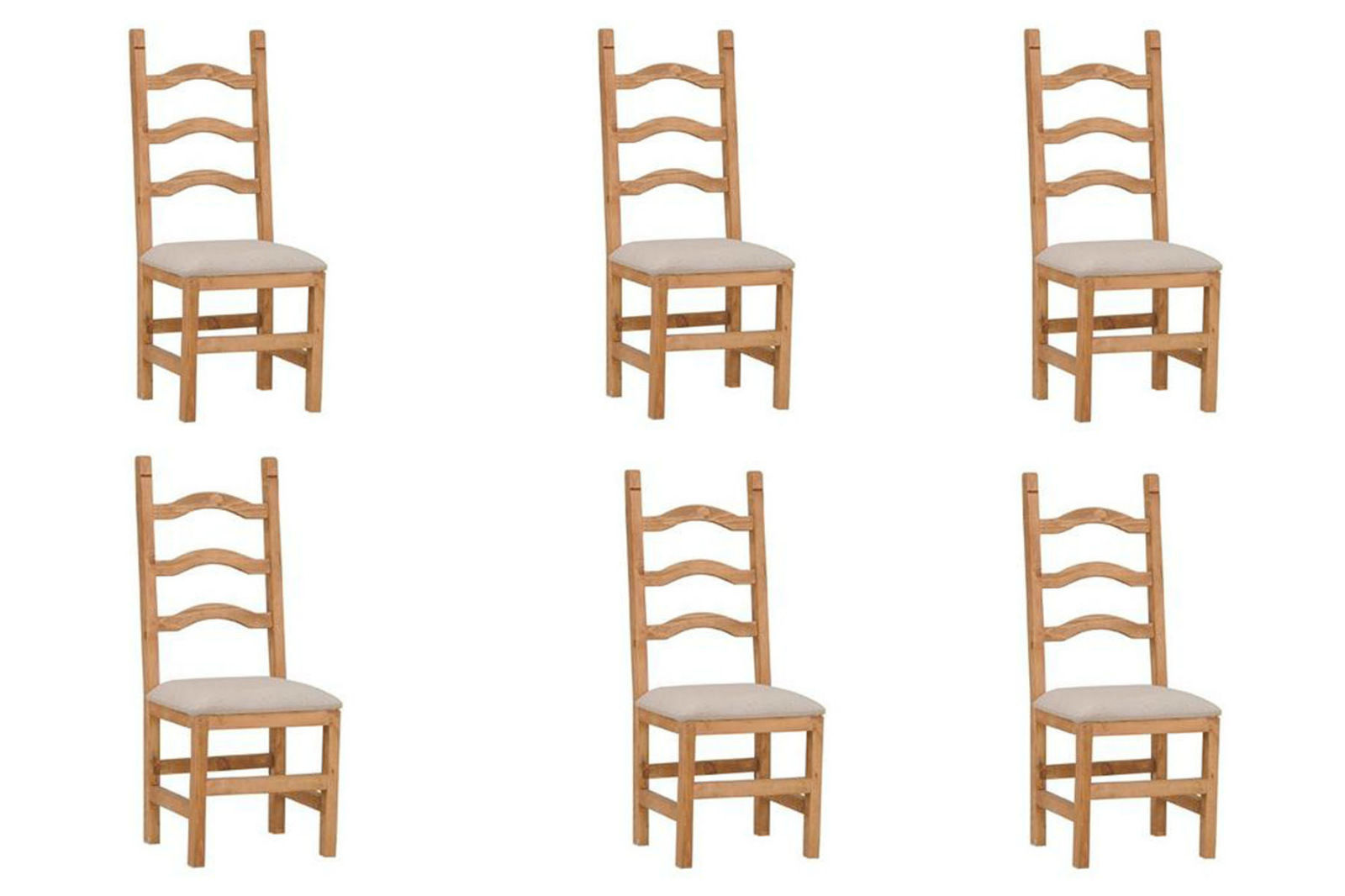 Set of Six Ladder Back Padded Seat Chair - Solid Wood - Rustic - Western -