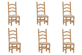 Set of Six Ladder Back Padded Seat Chair - Solid Wood - Rustic - Western - - $643.49
