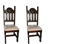 Set of Two Dark Star Padded Seat Chair Real Solid Wood Rustic Western Cabin - £327.40 GBP