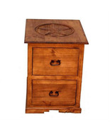 Rustic  2 Drawer File Cabinet with Star Western Office Cabin Lodge Solid... - $395.01