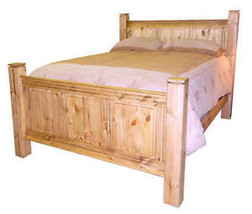 Rustic Monterrey Queen Bed Western Real Solid Wood Cabin Lodge Simple De... - $841.49