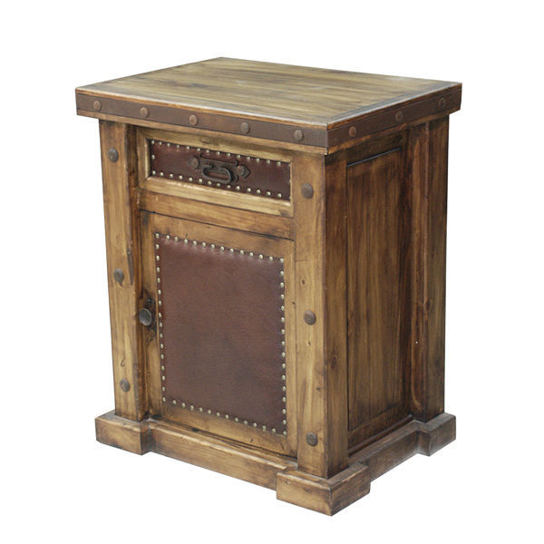 Rustic Laguna Real Leather Nightstand Real Wood Western Cabin Lodge Bedside End
