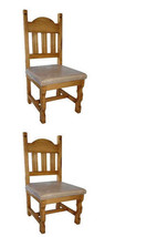 Set of Two Plain Padded Seat Chair Real Solid Wood Rustic Western Lodge ... - $475.19