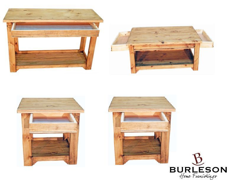 Rustic 1 Drawer Living Room Table Set Coffee Cocktail Sofa End Western Real Wood