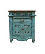 Turquoise Grand Nightstand Real Solid Wood Rustic Western Cabin Lodge - $494.01