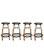 """Qty 4 30"""" Iron And Wood Natural Bar Stool Real Wood Rustic Western Cabin... - $742.49"""