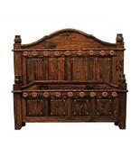 Dark Walnut Grand Bed Copper Accents Real Solid Wood Rustic Western Cabin - $1,781.01+