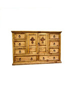 Rustic Mansion Dresser With Cross Rustic Western Real Solid Wood Lodge C... - $960.29
