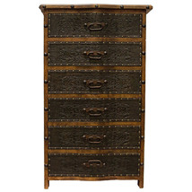 Curved Front Tooled Leather Six Drawer Chest Of Drawers - $1,480.05
