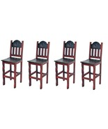 """QTY 4 30"""" Red Scraped Bar Stools Solid Real Wood Rustic Western Cabin Lodge - $791.99"""