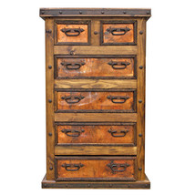 Copper Six Drawer Chest Of Drawers Real Wood Real Copper Rustic Western ... - $1,484.01