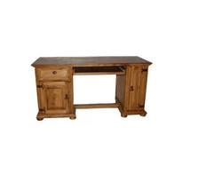 Honey Rustic Western Computer Desk Real Solid W... - $544.49