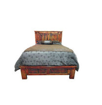 Rustic Red Rubbed King Bed Western Real Solid Wood Reclaimed Distressed - $1,039.49