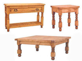 Square Lyon Living Room Table Set Sofa End Coffee Real Wood Rustic Weste... - $692.99