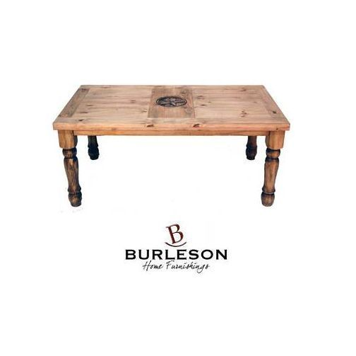 Rustic 6' Table With Engraved Star On Top Western Real Solid Wood Cabin Lodge