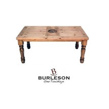 Rustic 6' Table With Engraved Star On Top Western Real Solid Wood Cabin ... - $890.99